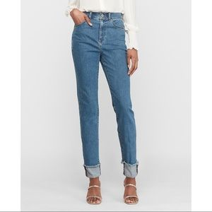 EXPRESS High Waisted Cuffed Slim Ankle Jeans